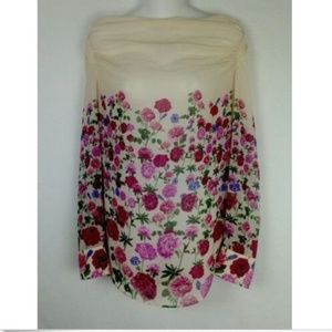 eShakti Spring Trendy Pink / Red Ruch Floral Top